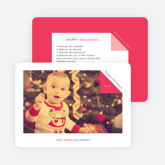 Folded Corner Photo Cards for the Holidays - Red