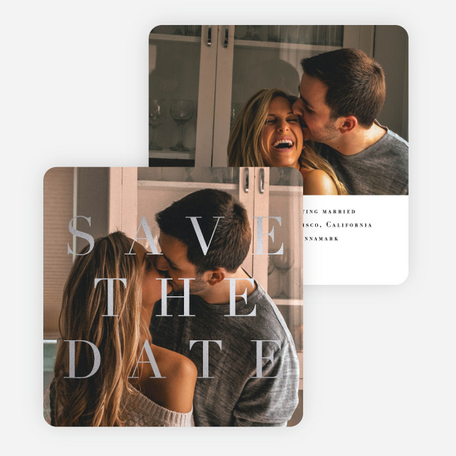 Foil Classic Announcement Save the Date Cards - Gray