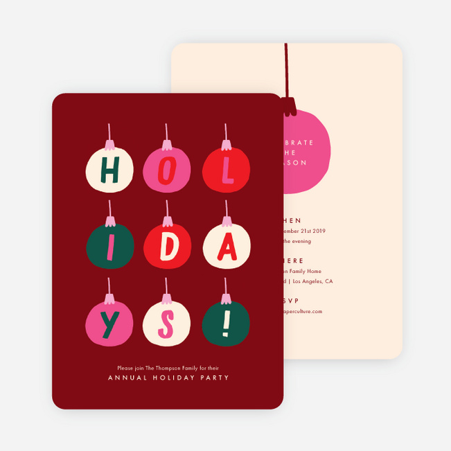 Happy Baubles Holiday Invitations - Red