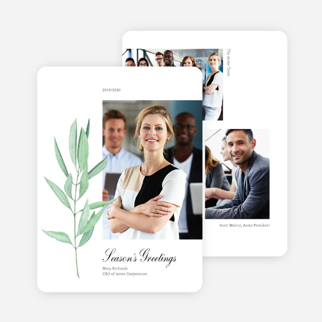 Leafy Bookmark Business and Corporate Holiday Cards - Black