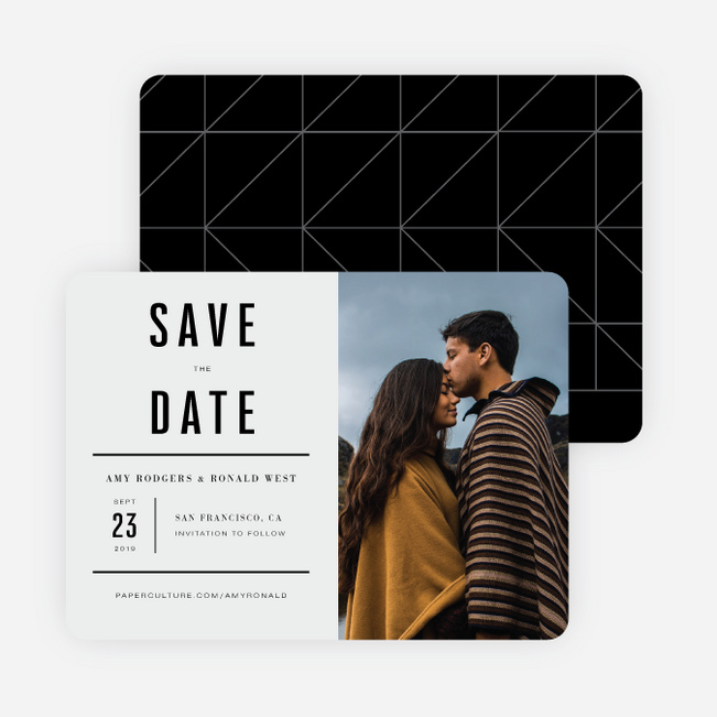 Modern Times Save the Date Cards - Beige