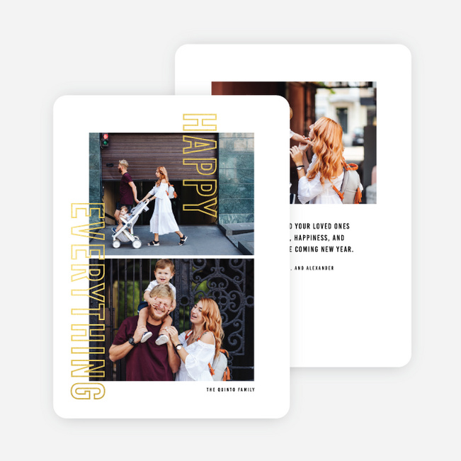Foil Anyway Multi Photo Holiday Cards - Yellow