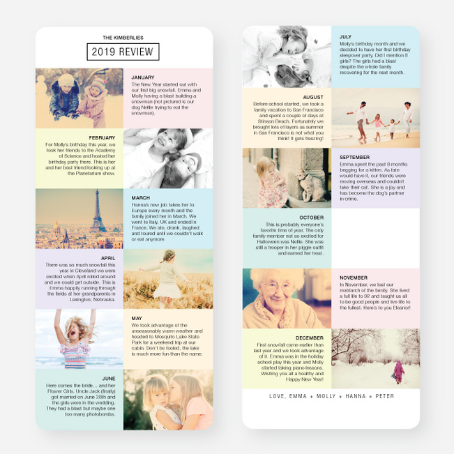 Twelve Month Review Holiday Cards