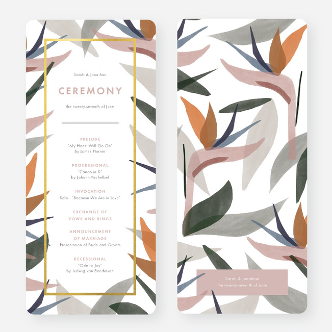 Foil Paradise Flowers Wedding Programs - Yellow