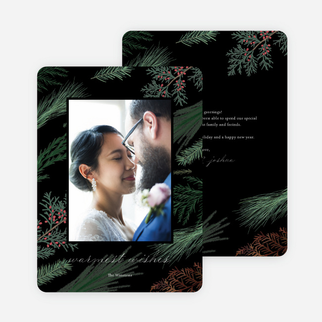 Sweeping Pines Christmas Photo Cards & Holiday Photo Cards - Black