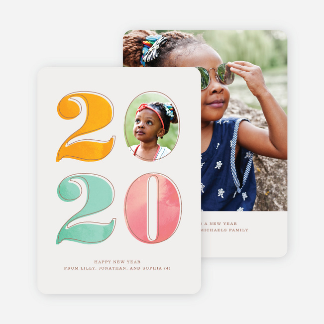 Cheery Numbers New Year Cards - Pink