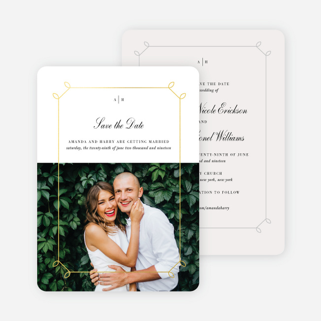 Foil Elegant Scroll Save the Date Cards - Yellow