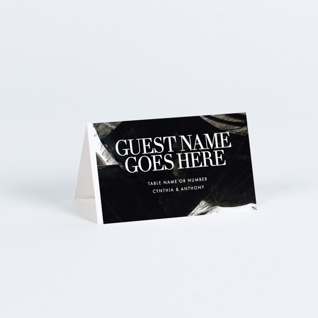 Dramatic Flair Wedding Name Cards & Place Cards - Black