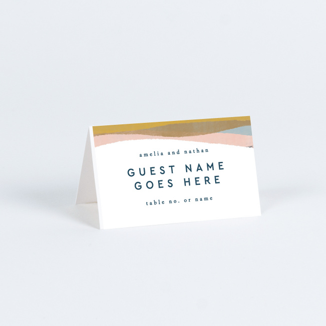 Earthy Waves Wedding Name Cards & Place Cards - Blue