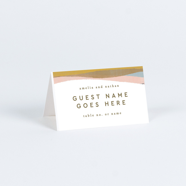 Earthy Waves Wedding Name Cards & Place Cards - Green