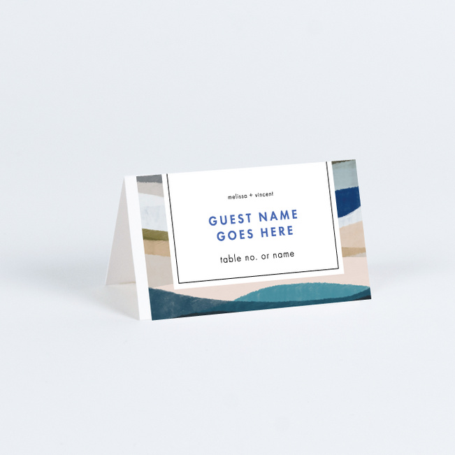 Painted Boundary Wedding Name Cards & Place Cards - Blue