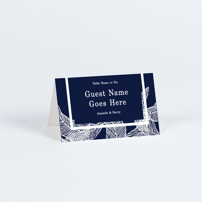 Textile Inspired Wedding Name Cards & Place Cards - Blue