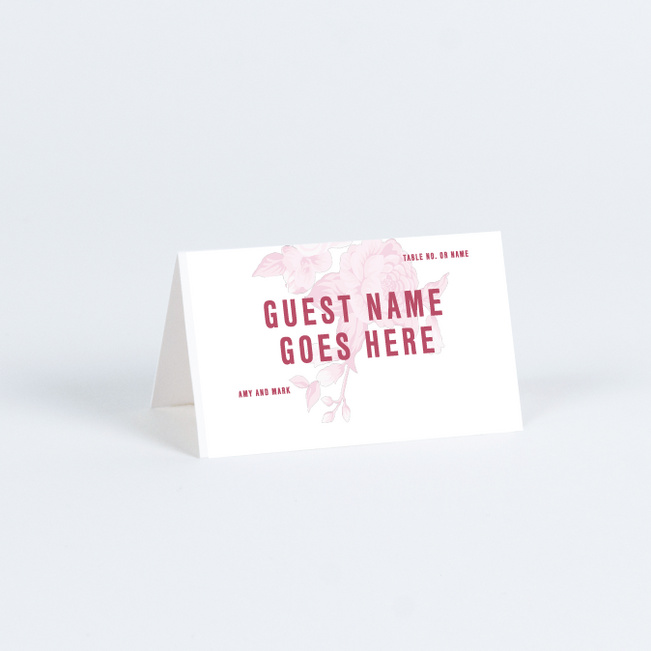Weaved Roses Wedding Name Cards & Place Cards - Pink