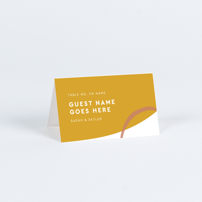 Natural Shapes Wedding Name Cards & Place Cards - Yellow