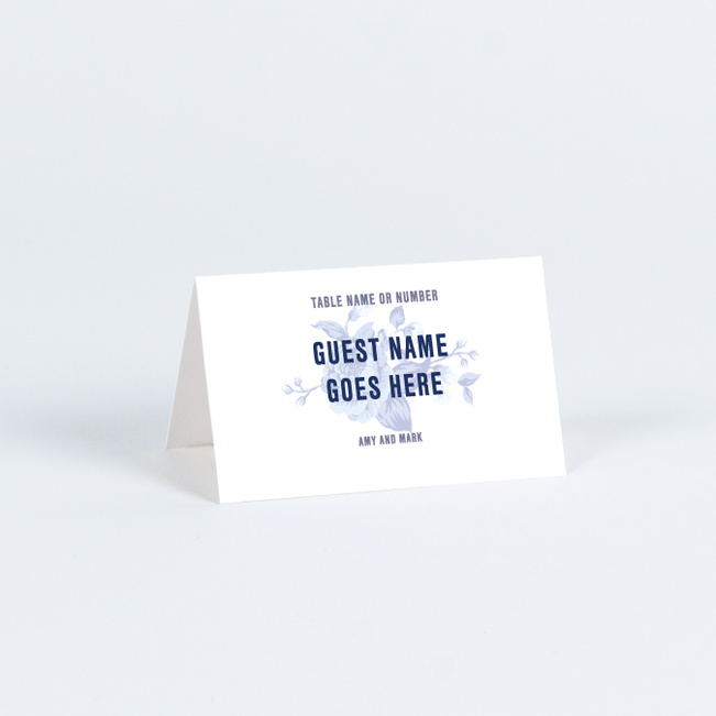 Rosy Outlook Wedding Name Cards & Place Cards - Blue