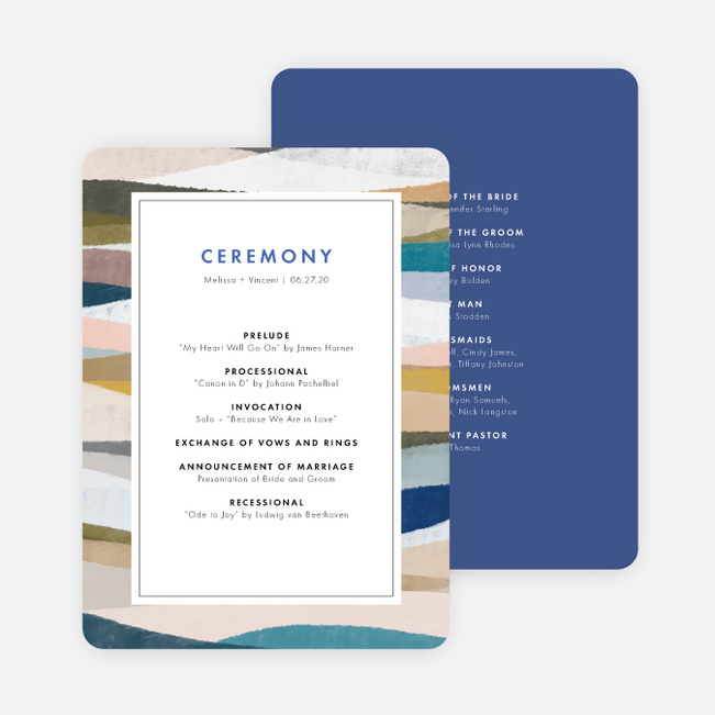 Painted Boundary Wedding Programs - Blue