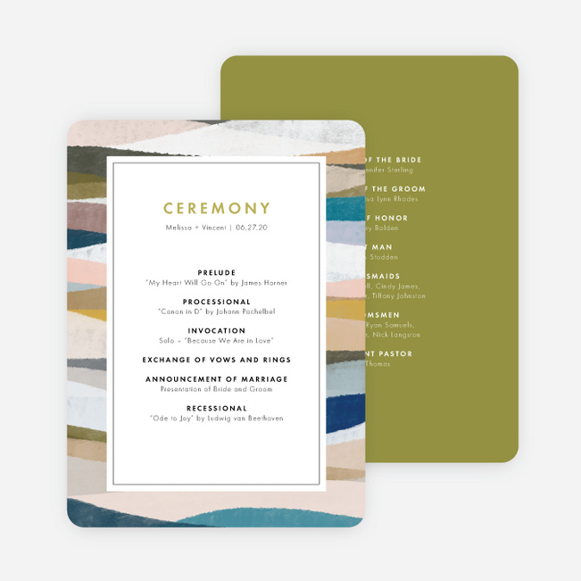 Painted Boundary Wedding Programs - Green