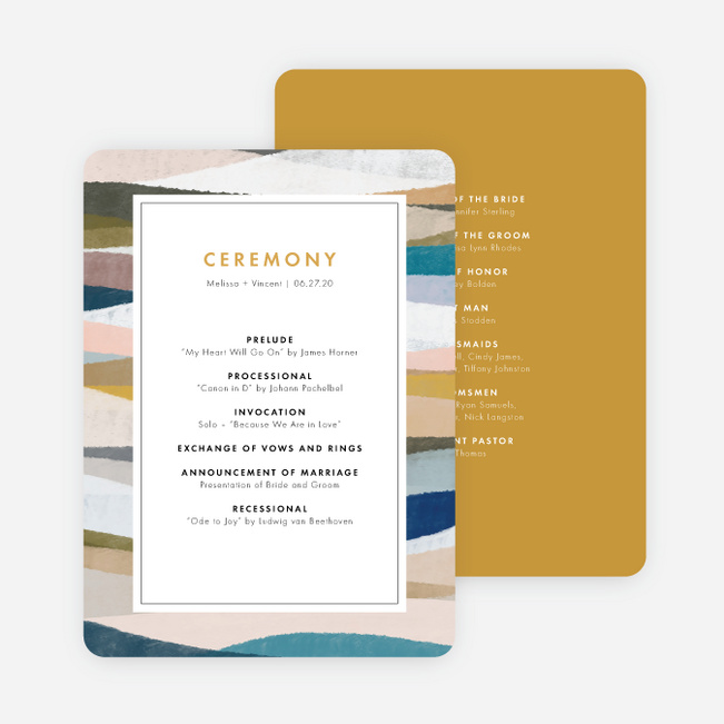Painted Boundary Wedding Programs - Yellow